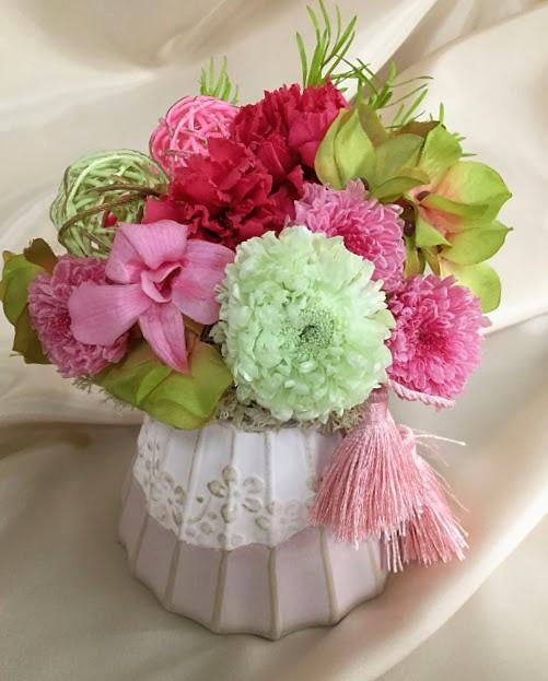 日比谷花壇 母の日 プリザーブド&アーティフィシャルアレンジメント「てまり富士」
